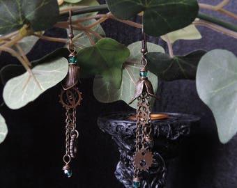 """Steampunk earrings """"My Metallic Garden - green"""""""
