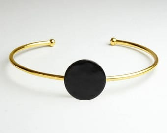 Gold with black coin Bangle