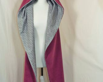 Fairy scarf cape Purple Fairy and cashmere REVERSIBLE
