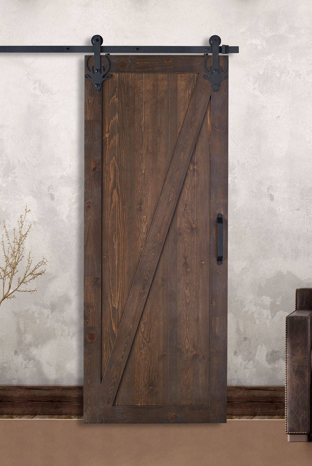 Farm style sliding barn doors z style stained painted for Farm sliding door