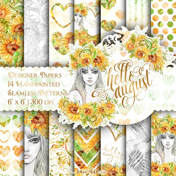 Sunflower Digital Paper Pack Hello August Paper Summer Fashion Floral  Watercolor Illustrations Cute Hearts Backgrounds Seamless Patterns From  KaramfilaS On ...