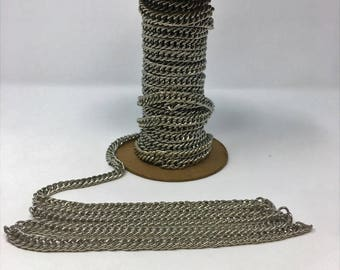 "3/8"" Wide Nickel Double Chain by Yard"
