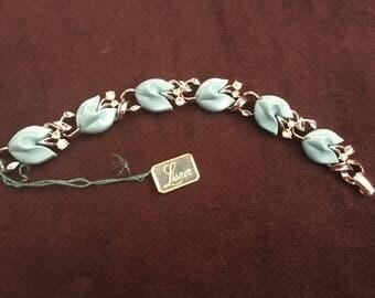 Lisner Tiffany Blue Tulip Thermoset with Clear Rhinestone Bracelet 1250