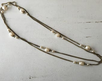 Vintage White Faux Pearl Chain Necklace 1291