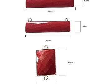 CORAL RECTANGLE 10X40 mm silver double