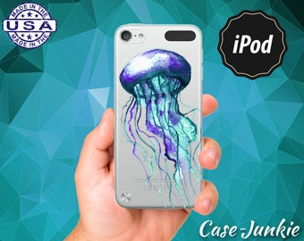 Jellyfish Blue Watercolor Jelly Fish Ocean Rubber Transparent Crystal Clear Case For iPod Touch 5th Generation or iPod Touch 6th Gen Rubb