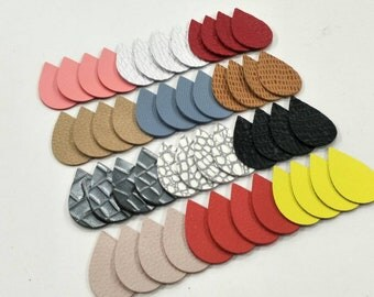 Embossed Leather Teardrops, 50 Pcs. (25 Pairs), 40mm.  50mm. 57mm. Long, Mixed Colors,Teardrops Die Cut,Teardrops Shape, Earing Accessories.