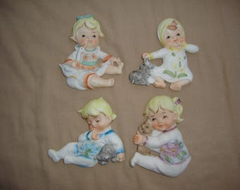 Set Of 4 Bradley Exclusives Japan Wall Plaques Babies Orig Stickers