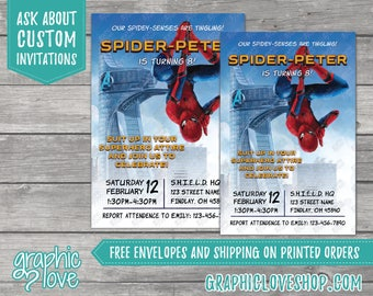 Personalized Spiderman Homecoming Birthday Invitation | Any Age, 4x6 or 5x7, Digital or Printed, Envelopes, FREE US Shipping