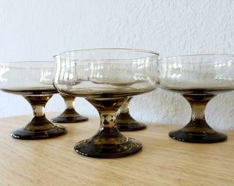 Vintage Smoked Champagne/ Sherbet Glasses, Libbey Rock Sharpe TAWNY ACCENT Set of 5 ,Retro Modern Barware