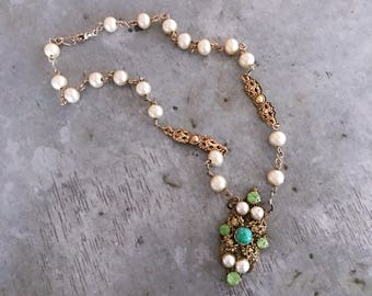 Assemblage necklace, re-purposed necklace, re-purposed brooch, filigree brooch pendant, pearls, OOAK necklace, green, gold, pearl