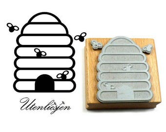Stamp beehive with bees, size 55x55 mm, rubber stamp