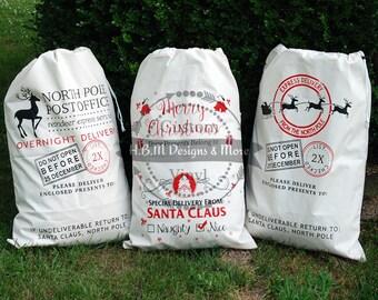Personalized Santa Sack or Reindeer Sack. Christmas Gift Sacks