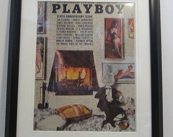Vintage Playboy Magazine Cover Matted Framed : January 1964 - Mr Playboy, Sharon Cintron, Terre Tucker, Phyllis Sherwood, Judi Monterey