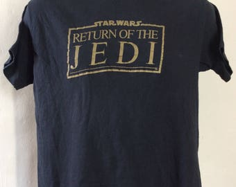 Vtg 1983 Return Of The Jedi UC Berkeley Screening T-Shirt Black M/L 80s Star Wars Sci Fi Movie
