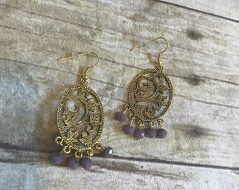 Gold and purple ivy dangle earrings