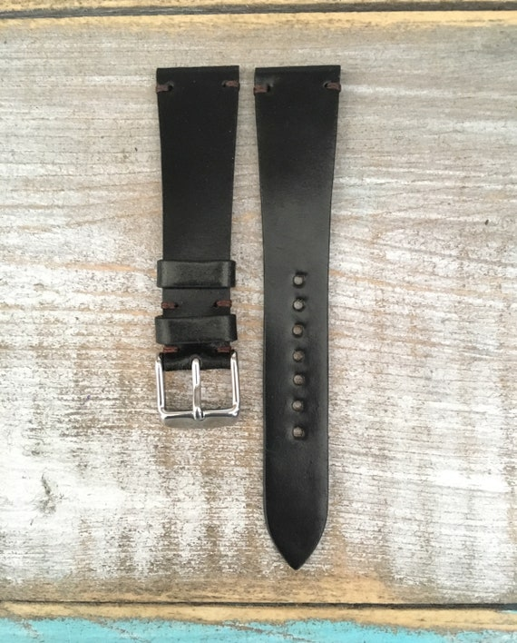 20/16mm Black Horween Shell Cordovan watch band - simple side stitch
