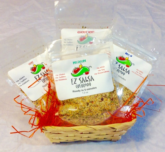 Gift basket All 4 Organic Salsas 1 mild, 1 med, 1 Hot Habanero and 1 ghost New Years Super bowl gift
