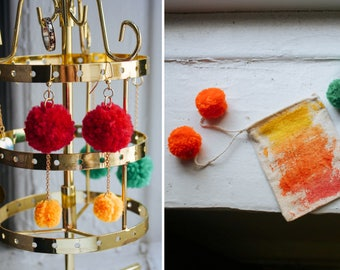 SALE Pom Pom Set with Dangle Earrings and Watercolor Bag