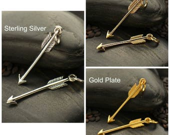 Sterling Silver, Arrow Charm, Silver Arrow, Arrow Jewelry, Bow and Arrow, Native American, Archery Charm, Archery Jewelry, Silver Archery