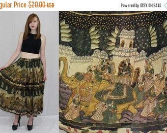 Vintage 70s Thin Cotton Gauze Ethnic India Elephant Print FULL Hippie Boho Skirt OS