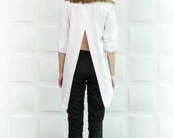 SALE White Asymmetric Shirt / Extravagant Cotton Top / Summer Loose Shirt/ B0083