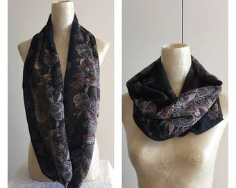 Infinity Scarf - Scarves - Accessories - Black Scarf - Scarf - Loop Scarves -  Scarf - Chiffon Scarf - FREE SHIPPING