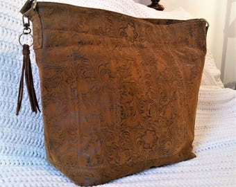 Hobo Shoulder Bag: Rust and Charcoal Embossed Faux Leather with Tassel Key Ring