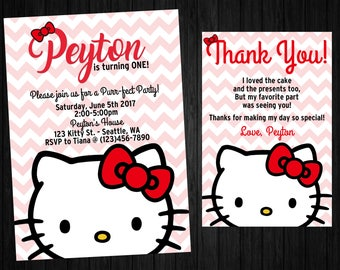 Hello kitty thank you cards Etsy
