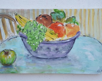 1989 Still Life Fruit Bowl Painting  By Listed Artist H. Bernstein .