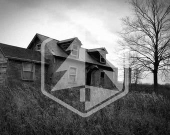 Forgotten Abandoned Farmhouse Creepy Black and White Photo Digital Download