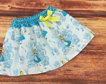 SALE, Alice in Wonderland Birthday, Alice in Wonderland Skirt, Girls Alice Skirt, Alice Party Skirt, Alice Tea Party, ONE SIZE 3T, Handmade
