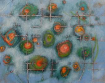 Expressive art, Abstract art, Oil Painting, Original Art, Green, Blue, Red, orbs