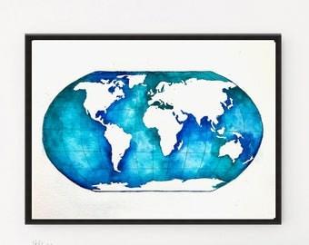Globe, World Map art, Watercolor Painting, Globe print, Illustration art, Globe art, Watercolor Print, Modern art, Map art, Map gift