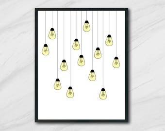 light bulb art printable wall art modern home decor wall print light