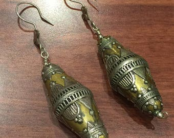 925 Sterling Silver and Brass Tibetan Style Earrings
