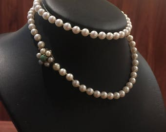 55cm South Sea Cultured Pearl Necklace with Pearl & Turquoise Clasp