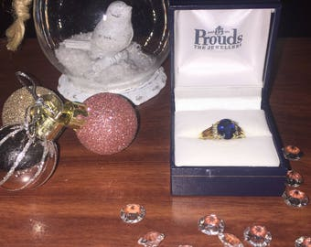Royal Blue Oval 2.00ct Sapphire and Diamond Vintage Ring in 18K Yellow Gold