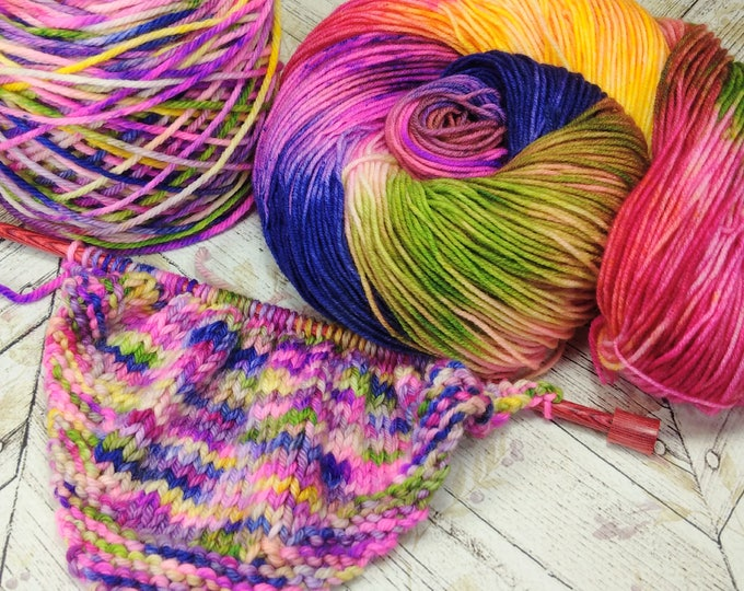 "Featured listing image: Squishy Sock Yarn, Hand Dyed Yarn, Merino 8 ply, Nylon SW, 420 yards, ""Glorious Chaos"""