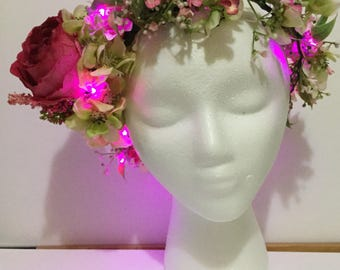 Light Up Pink Rose flower crown