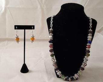 Murano Glass Bead Necklace - Murano Glass Bead Earrings - Chain Necklace - Long Necklace - Glass Necklace - Murano Glass Bead Jewelry Set