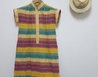 FREE SHIPPING, Vintage Japan dress, Colorful dress, Summer dress, Day dress