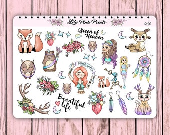 28 Queen of Boho Stickers Q-02 - Perfect for Erin Condren Life Planners / Journals / Stickers.
