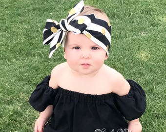 JAYLEEN Headwrap ; stripes head wrap ; head wrap ; baby head wraps; toddler head wrap, girls head wrap, gold dot head wrap