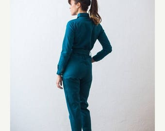 OUTLET Designer JumpSuit, Petrol Jumpsuit, Elegant Jumpsuit, Cotton Jumpsuit, Unique Womens Gifts, Casual Dresses For Women, Work Wear, Over