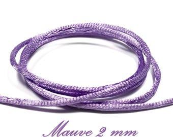 5 m polyester 2 mm purple rat tail cord