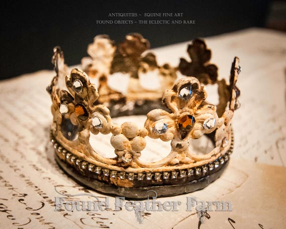 Medium Handmade Embellished Rusted Creme Tin Crown with Vintage Jewels