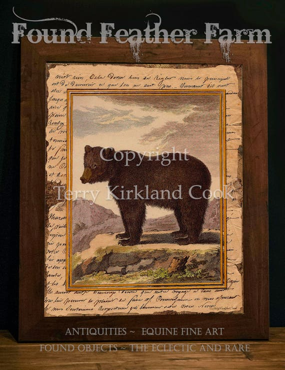 "Big Brown Bear ~ Original Vintage Art Collage 20"" x 24"" Framed Giclee Print"