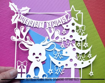Christmas reindeer paper cut svg / dxf / eps / files and pdf / png printable templates for hand cutting. Digital download. Commercial use ok