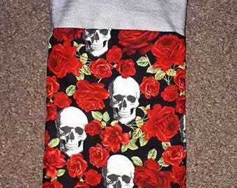 Quirky Gothic Roses & Skulls Christmas Gift Bag